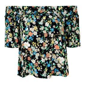 TOPSHOP retro floral smock bardot blouse